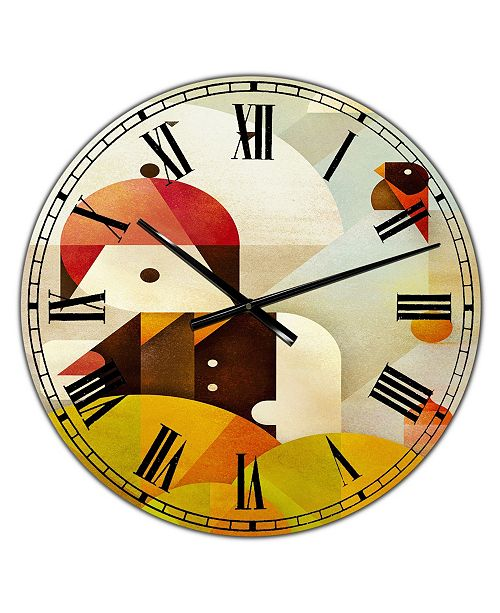 "Designart Young Man with Red Bird Large Mid-Century Wall Clock - 36"" x 28"" x 1"""