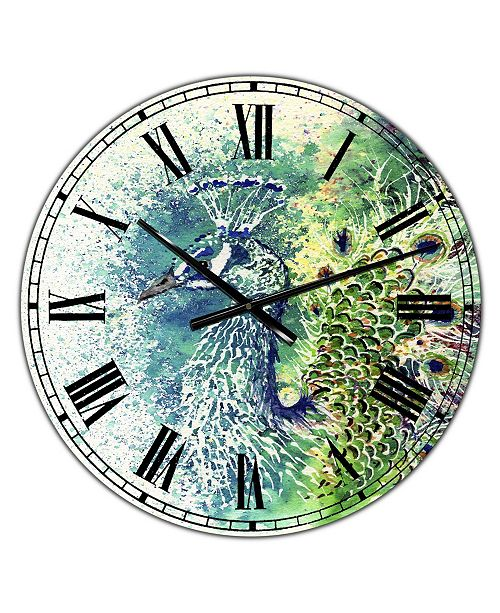 "Designart Peacock Bliss Large Farmhouse Wall Clock - 36"" x 28"" x 1"""