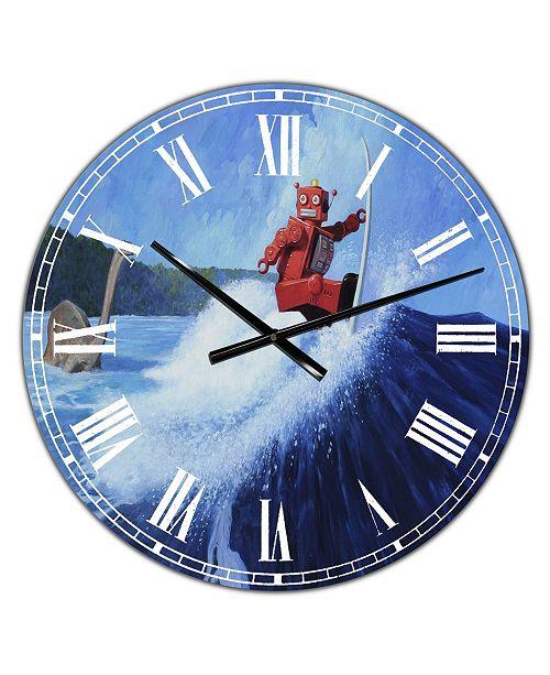 "Designart Surfer Joe Large Modern Wall Clock - 36"" x 28"" x 1"""
