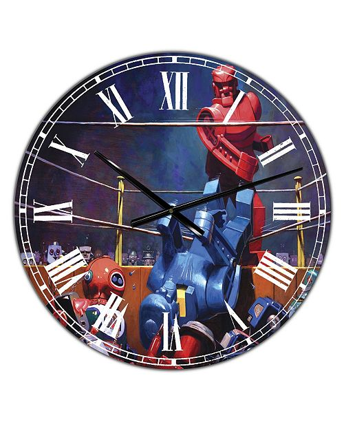 """Designart Robot Boxing Oversized Modern Wall Clock - 36"""" x 28"""" x 1"""""""