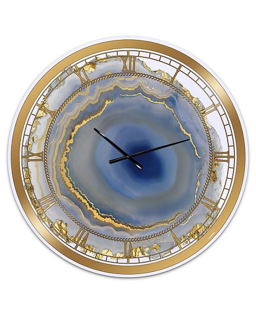 "Designart Golden Water Agate Oversized Fashion Wall Clock - 36"" x 28"" x 1"""