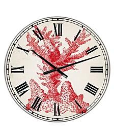 "Red Coral 1 Oversized Nautical & Coastal Wall Clock - 36"" x 28"" x 1"""