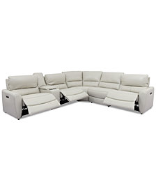 Danvors 6-Pc. Leather Sectional Sofa with 3 Power Recliners, Power Headrests, Console, and USB Power Outlet