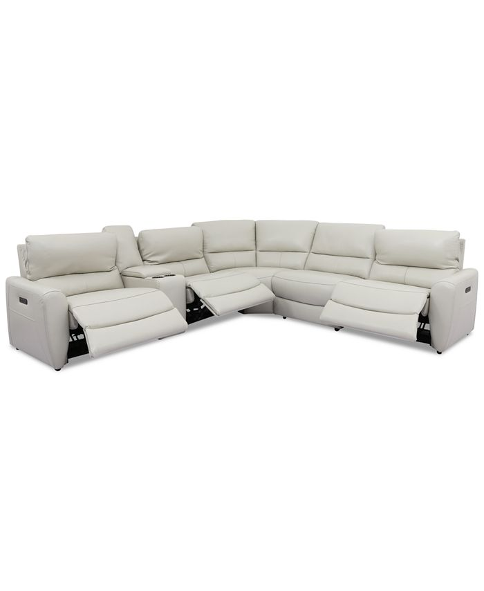 Furniture - Danvors 6-Pc. Leather Sectional Sofa with 3 Power Recliners, Power Headrests, Console, and USB Power Outlet