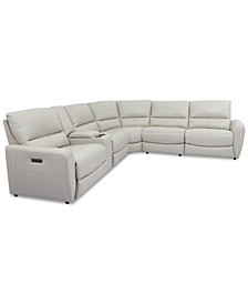 Danvors 6-Pc. Leather Sectional Sofa with 2 Power Recliners, Power Headrests, Console, and USB Power Outlet