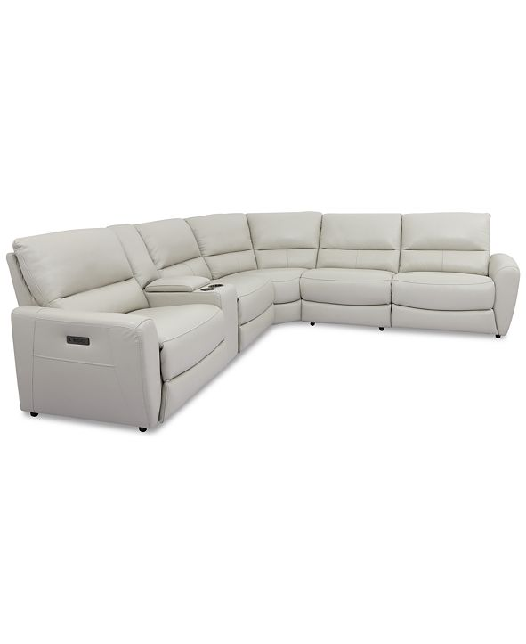 Furniture Danvors 6-Pc. Leather Sectional Sofa with 2 Power Recliners, Power Headrests, Console, and USB Power Outlet