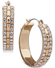 "Small Gold-Tone Pavé Hoop Earrings 1"""