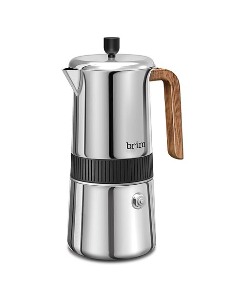 Brim 6 Cup Moka Maker with Wood Finish Handle