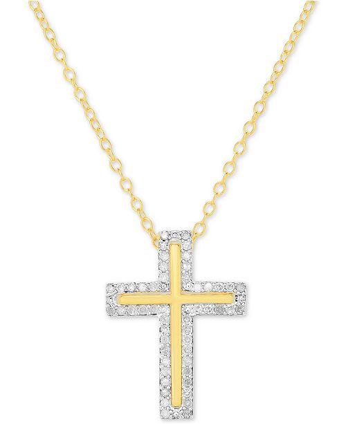 """Macy's Diamond Cross 18"""" Pendant Necklace (1/4 ct. t.w.) in 14k Gold-Plated Sterling Silver"""