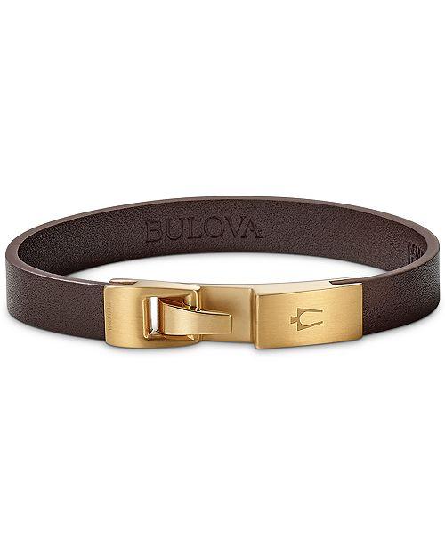 Bulova Men's Leather Bracelet in Gold-Tone Stainless Steel, J97B004M
