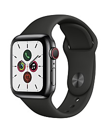 Apple Watch Series 5 GPS + Cellular, 40mm Space Black Stainless Steel Case with Black Sport Band