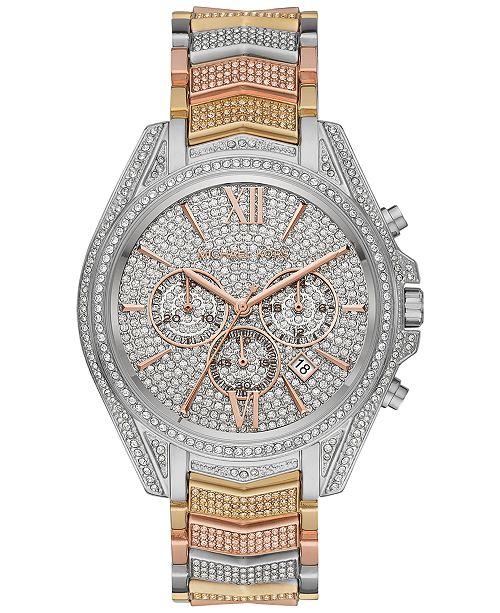 Michael Kors Women's Chronograph Whitney Tri-Tone Pavé Stainless Steel Bracelet Watch 44mm