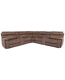 Hutchenson 7-Pc. Fabric Sectional with 2 Power Recliners, Power Headrests and 2 Consoles with USB