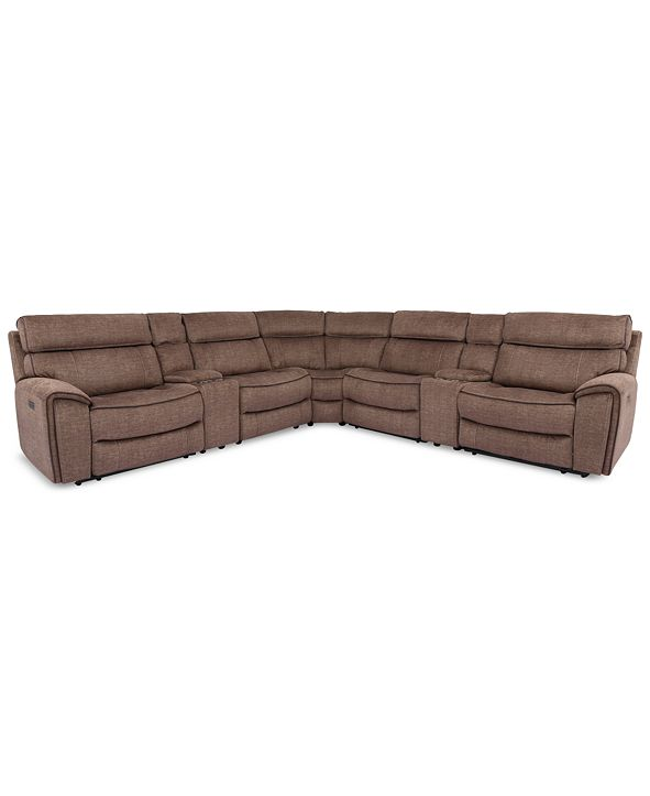 Furniture Hutchenson 7-Pc. Fabric Sectional with 2 Power Recliners, Power Headrests and 2 Consoles with USB