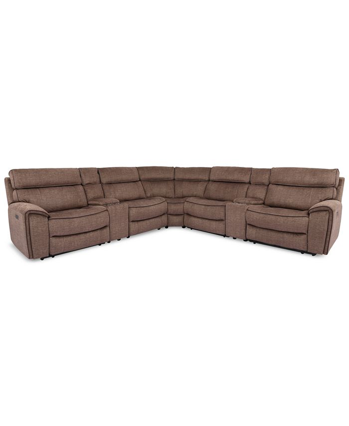 Furniture - Hutchenson 7-Pc. Fabric Sectional with 2 Power Recliners, Power Headrests and 2 Consoles with USB