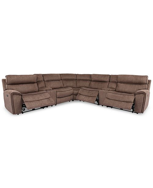 Furniture Hutchenson 7-Pc. Fabric Sectional with 3 Power Recliners, Power Headrests and 2 Consoles with USB