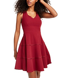 Juniors' V-Neck Tiered Dress