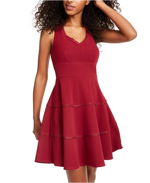 City Studios Juniors' V-Neck Tiered Dress
