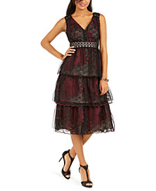 Taylor Tiered Lace Tulle Midi Dress