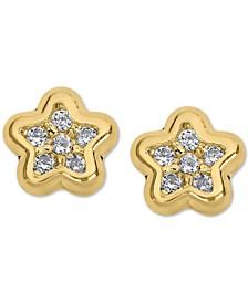 Child's Cubic Zirconia Star Stud Earrings in 14k Gold