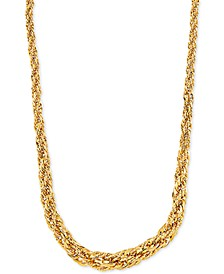 """Graduated Rope Link 18"""" Chain Necklace (3mm - 6.25MM) in 14k Gold"""
