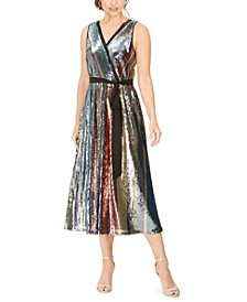 Sequined-Stripe Midi Dress