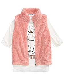 Big Girls 2-Pc. Faux Fur Vest & Graphic-Print Top Set