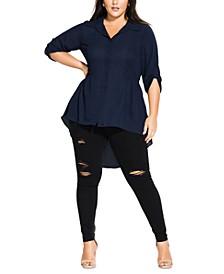 Trendy Plus Size High-Low Shirt