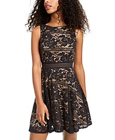 Juniors' Allover-Lace Dress