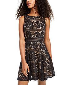 City Studios Juniors' Allover-Lace Dress
