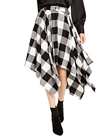 Buffalo Check Handkerchief-Hem Cotton Midi Skirt, Created For Macy's