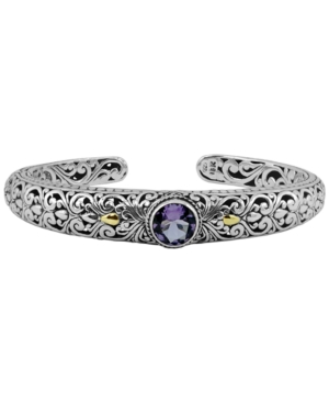 Amethyst (1-1/2 ct. t.w.) Bali Heritage Classic Cuff Bracelet in Sterling Silver and 18k Yellow Gold Accents
