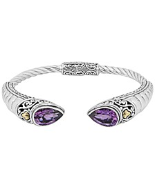 Amethyst (5-1/10 ct t.w.) Bali Heritage Classic Cuff Bracelet in Sterling Silver and 18k Yellow Gold Accents