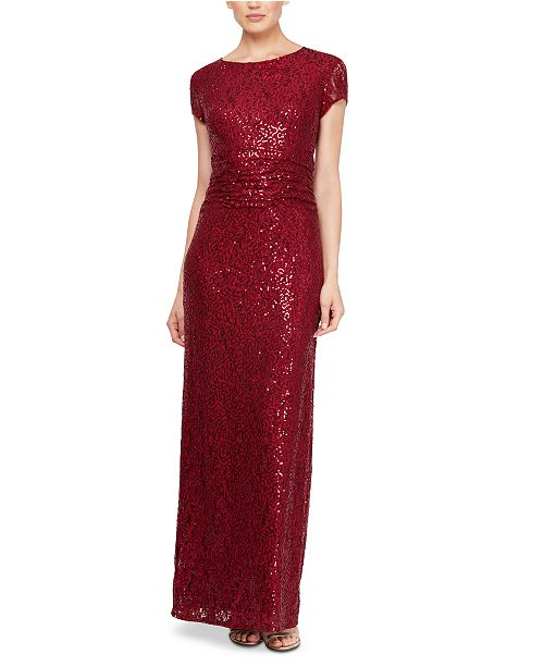 SL Fashions Sequined Lace Gown