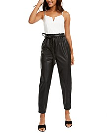 Juniors' Bustier Paperbag Jumpsuit