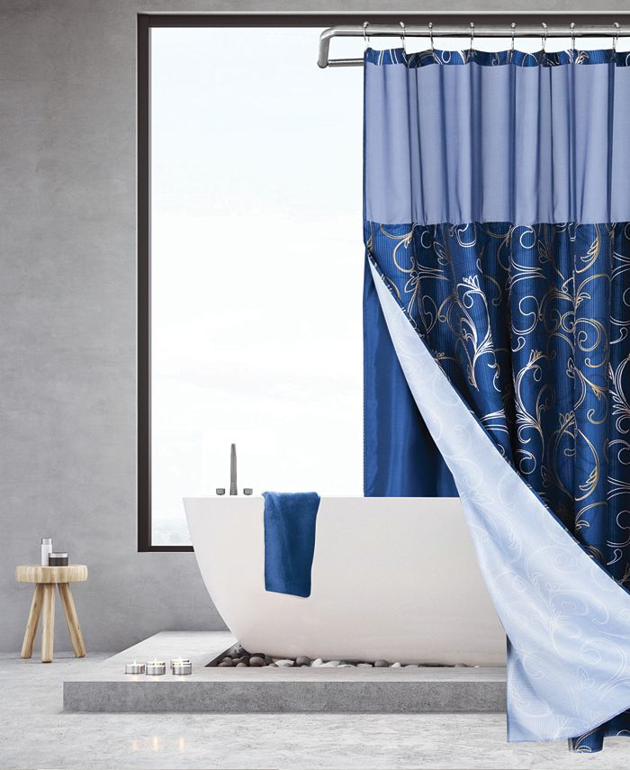 Spa 251 - Golden Swirl Waffle Complete Shower Curtain With Detachable Liner