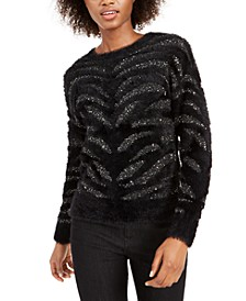 Zebra-Stripe Sequin Eyelash Sweater, Created For Macy's