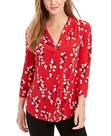 Petite Floral-Print V-Neck Top, Created For Macy's
