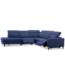 Sleannah 5-Pc. Fabric Bumper Sectional with 2 Power Recliners