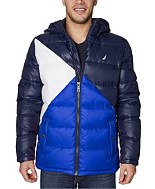 Men's Water-Resistant Colorblocked Hooded Puffer Jacket