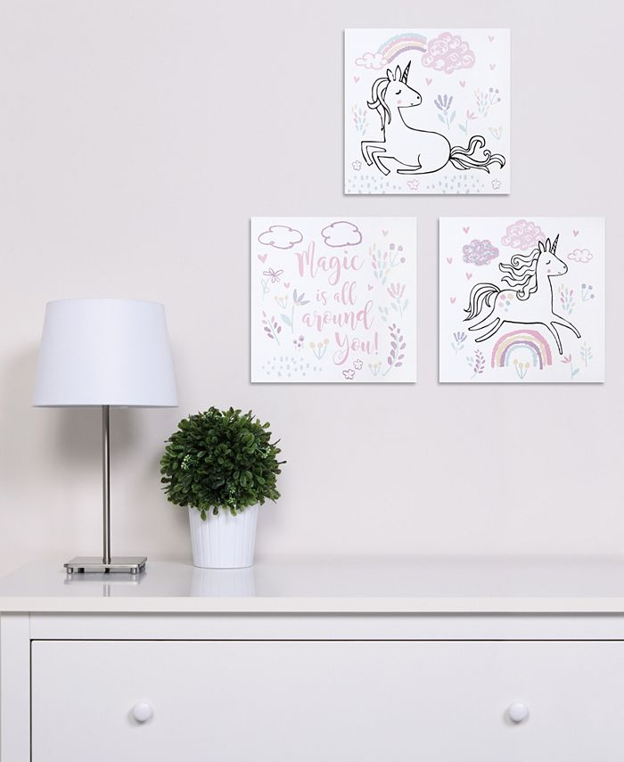 Trend Lab - Magical Unicorn Canvas Wall Art 3-Pack