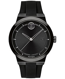 Men's Fusion Swiss Bold Black Silicone Strap Watch 42mm