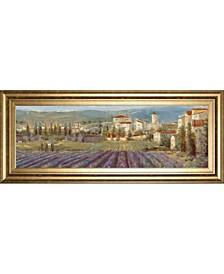 "Provencal Village - Landscape by Longo Framed Print Wall Art, 18"" x 42"""
