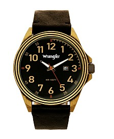 Wrangler Men's Watch, 48MM Antique Brass Case, Black Dial with Bronze Arabic Numerals, Brown Strap, Analog Watch, Red Second Hand, Date Function