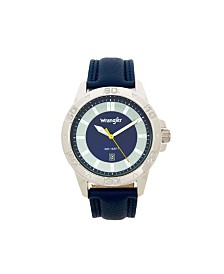 Wrangler Men's Watch, 46MM Silver Colored Case with Embossed Arabic Numerals on Bezel, Blue Sunray Dial, Silver Index Markers, Analog, Blue Strap