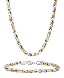 Men's Rope Link Bracelet and Necklace Set
