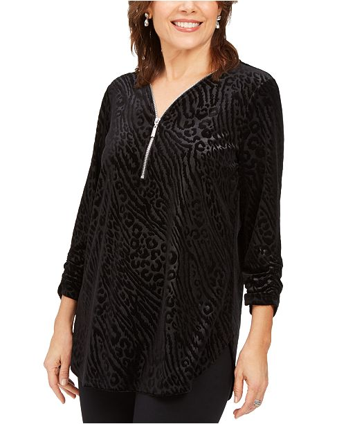 JM Collection Printed Velvet Zipper-Trim Top, Created For Macy's