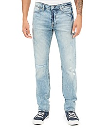 Men's Selvedge Slim-Straight Destroyed Jeans