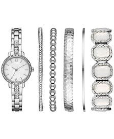 Women's Silver-Tone Bracelet Watch 28mm Box Set