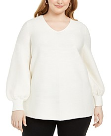 Plus Size Ottoman-Stitch Sweater, Created for Macy's